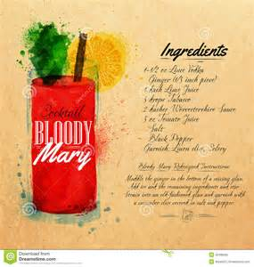 bloody mary cocktails watercolor kraft stock vector image 42498565