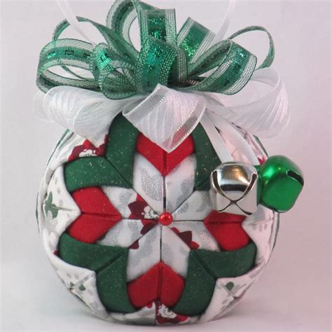 christmas fabric ornament quilted no sew poinsettia tile