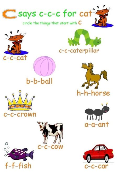 Start With The Letter C activity sheet for preschool learning about the