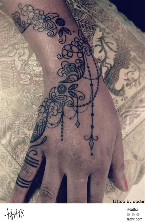 lace hand tattoo by dodie lace ornament tattoos