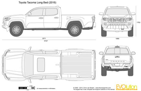 Toyota Tacoma Bed Dimensions by The Blueprints Vector Drawing Toyota Tacoma Bed