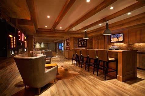 man cave in basement transitional basement garrison