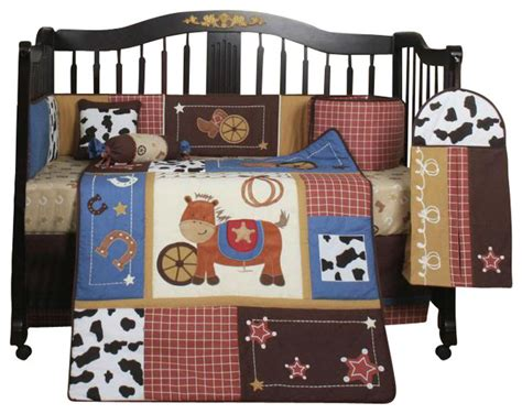 Western Horse Cowboy 13pcs Crib Bedding Set Contemporary Cowboy Crib Bedding Sets