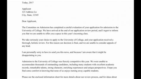 college application rejection letter samples templates