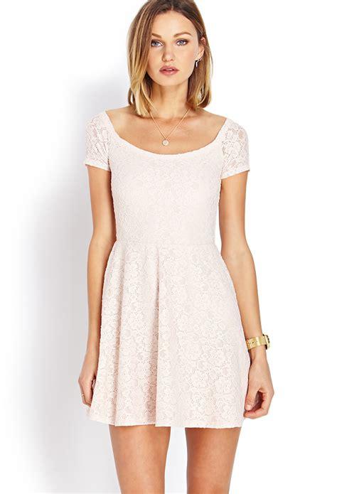 30618 Pink Sweet Offshoulder Dress lyst forever 21 sweet lace the shoulder dress in pink