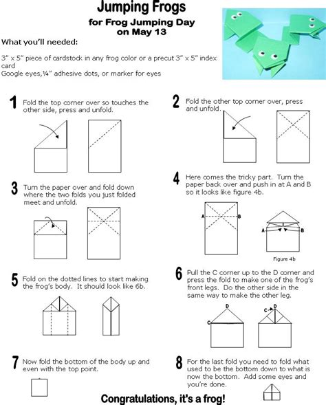 Origami Frog Printable - how to make origami frog origami jumping frogs sunday