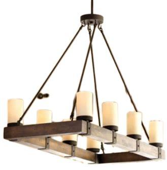 Arturo 8 Light Rectangular Chandelier Arturo 8 Light Wood Rectangular Chandelier Iron