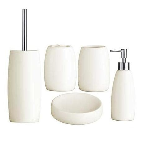 5 piece bathroom set 5 piece natural stoneware bathroom accessories set at