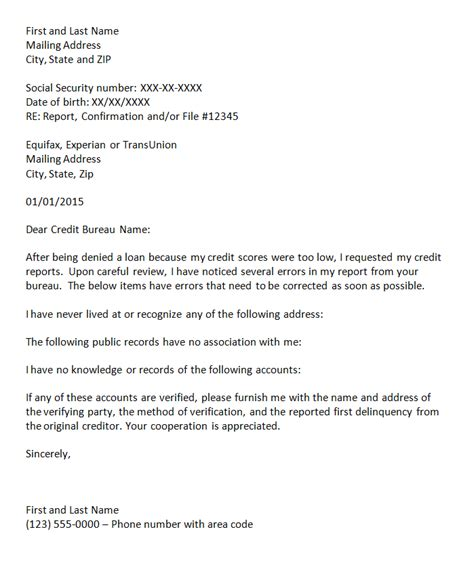 Sle Of Dispute Letter To Bank Credit Report Credit Report Dispute Letter