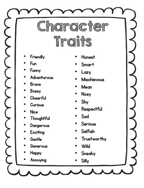 Character Traits Letter Y S Grade Snippets Teaching Character Analysis In The Primary Grades