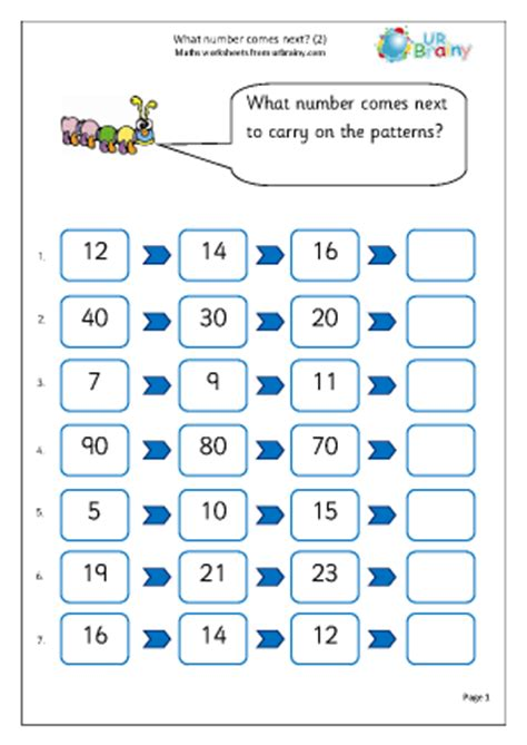 number patterns worksheet for year 1 what number comes next 2 counting and number maths