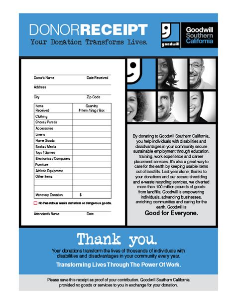 goodwill charitable donation receipt template salvation army donation receipt fill printable