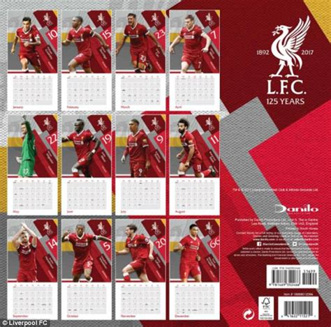 liverpool official 2017 calendar 1785492209 liverpool s 2018 calendar features coutinho and sturridge daily mail online