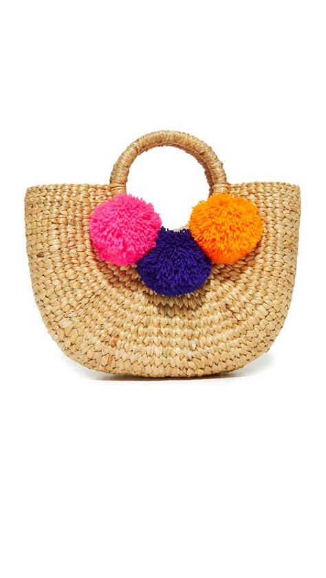 Pom Bag Shop Jadetribe Basket Mini Pom Bag In Pink Electric Blue