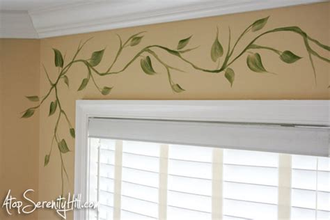 handpainted vine as window valance alternative atop serenity hill