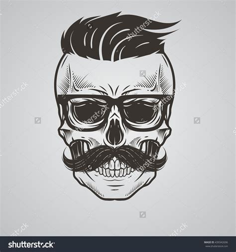 bearded skull tattoo bearded skull illustration 439342696