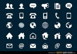white contact icons collection vector free