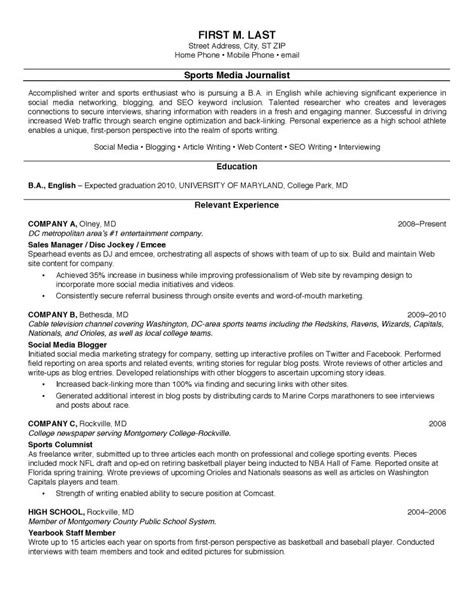 resume format for sports person resume sle for college students resume cover letter