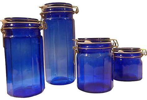 faceted blue kitchen canisters set of 4