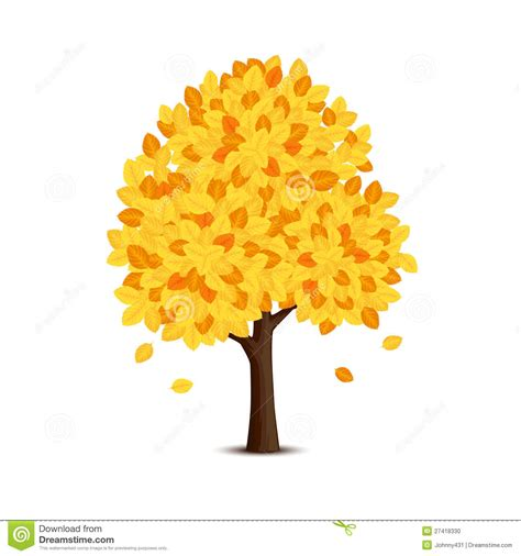 tree with tree with yellow leaves stock vector image of