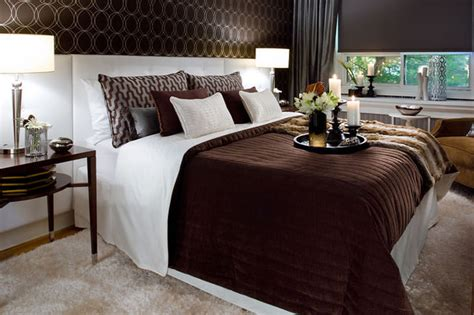 Chocolate Bedroom | jane lockhart chocolate brown white bedroom modern
