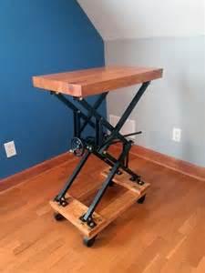 diy industrial style scissor lift end table workspace