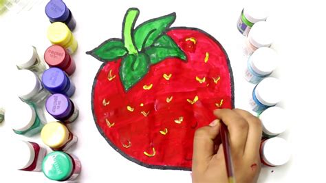 strawberry color coloring strawberry to learn colors learn to color fruits