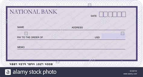 cheque template blank bank cheque template in shades of violet stock photo