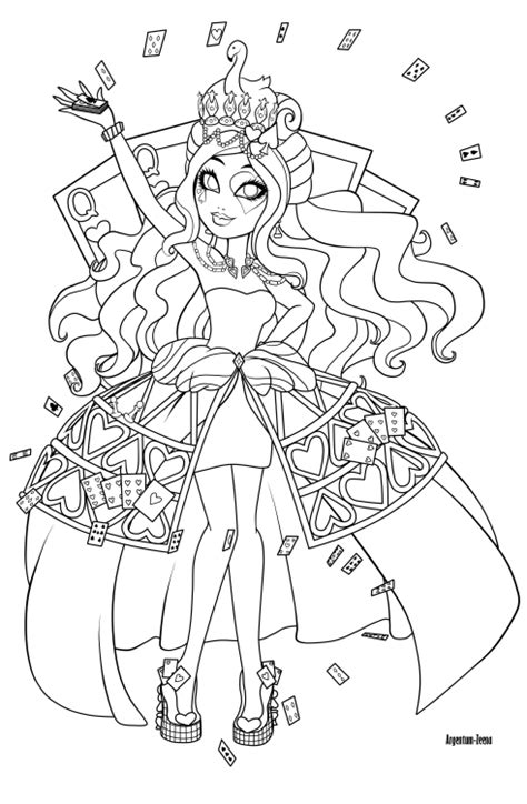 coloring pages ever after high lizzie hearts teatime with maddie