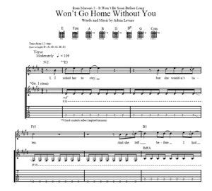 won t go home without you maroon 5 sheet
