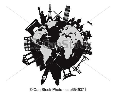 Some Search The World Vector Clip Of Travel Around The World Some World Architecture