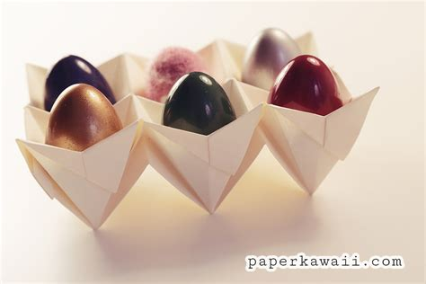 Origami Egg Box - origami egg box tutorial easter paper kawaii