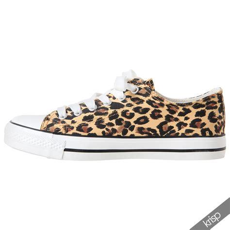 animal print flat shoes womens leopard print low top fashion trainers plimsolls