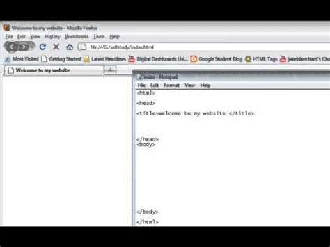 html tutorial on notepad html tutorial part 2 create html page with notepad