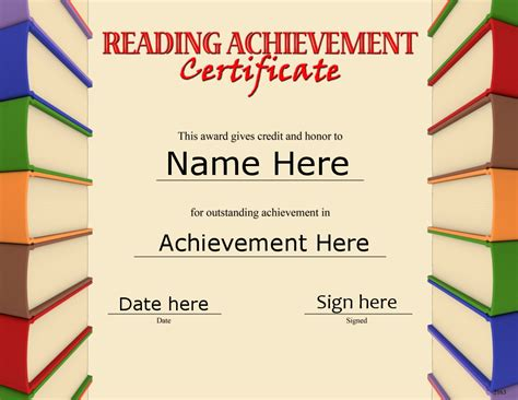 reading certificate template certificates awards
