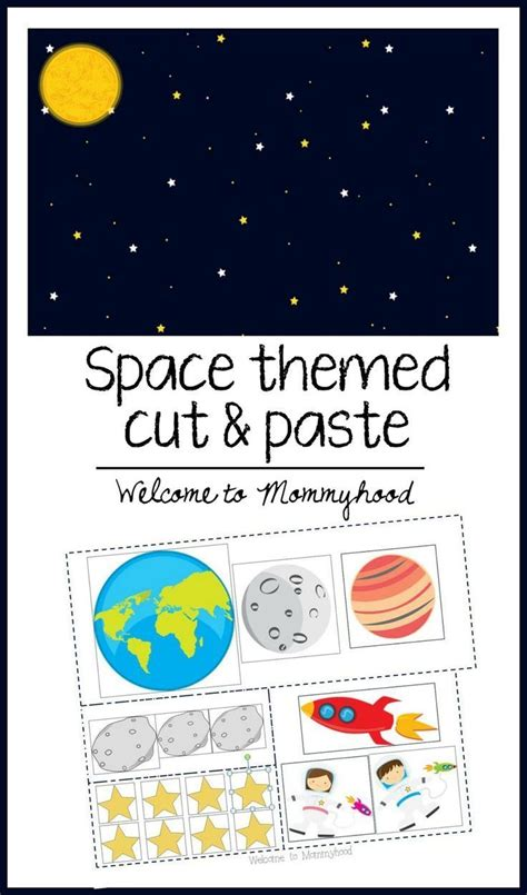 kindergarten activities on space free space themed cut and paste printable from welcome to