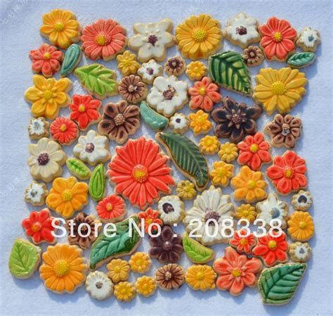 Handmade Mosaic Tiles - tile ceramic mosaic colorful pottery flower ceramic mosaic