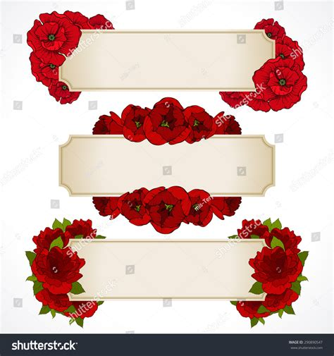 wedding invitation card red background design vector set banners red flowers greeting stock vector