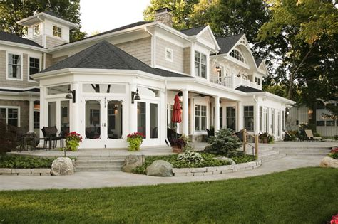 american dream homes plans lakefront elevation traditional patio chicago by