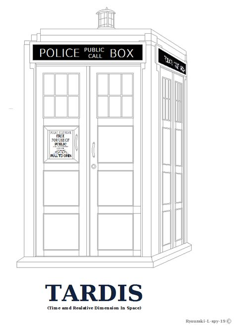 tardis outline or coloring page by ryuuzaki l spy 19 on