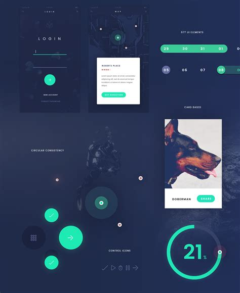 fade app design ui kit flat style  psd downlaod freebiesui