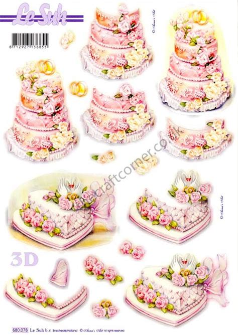 Wedding Decoupage Sheets - wedding cakes die cut 3d decoupage sheet from le suh