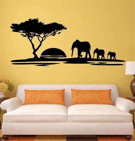 wall decal murals wall stickers elephant animals landscape tree mural vinyl decal ig1918 ebay