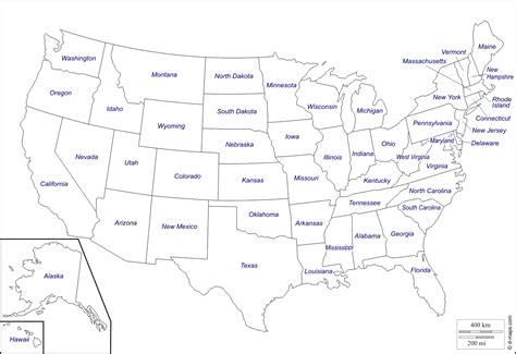 map of states of usa with name united states map outline vector with state names clipart
