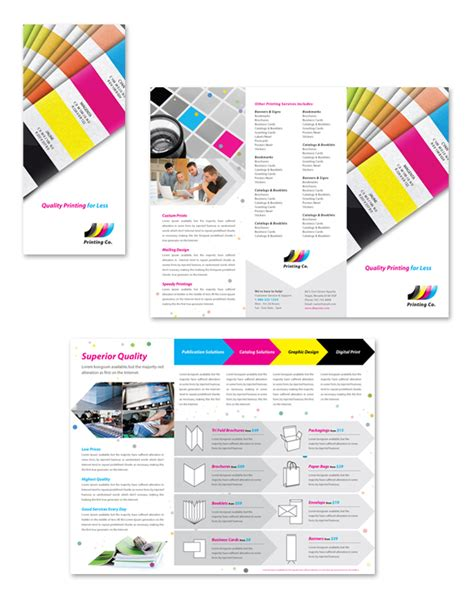 print brochure templates printing company tri fold brochure template