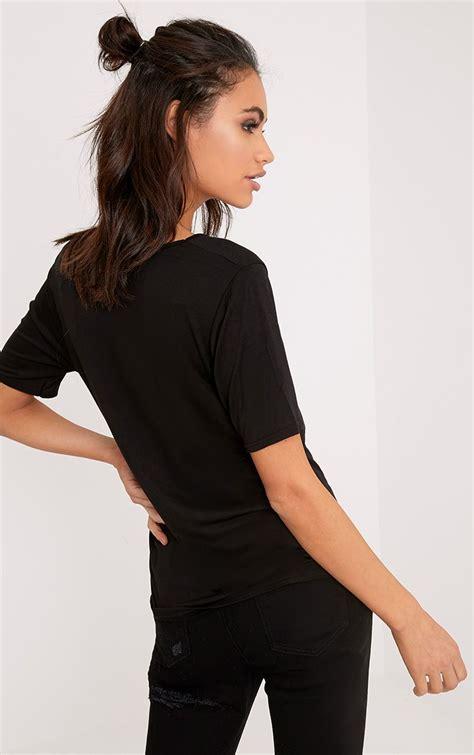Black White V Neck Shirt basic black white v neck t shirt 2 pack tops