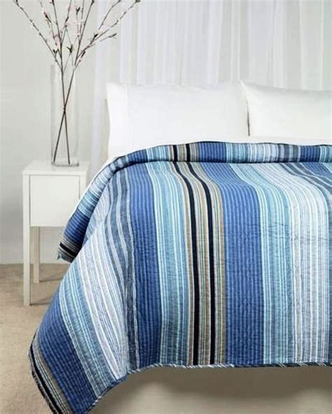 nautical coverlets ocean blue stripe twin single quilt set nautical