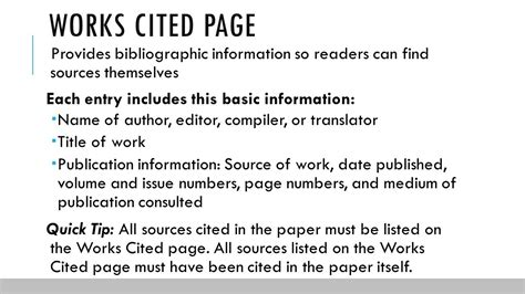 sle of works cited page documentation in mla format ppt
