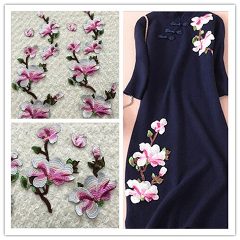 Flowers Bordir List 1group with 4pcs flowers clothes applique patch lace water soluble embroidered fabric