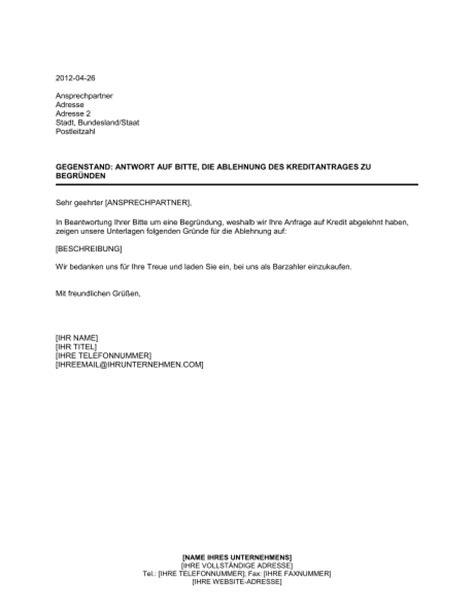 Bewerbung Absage Evidenz antwort auf bitte die ablehnung des kreditantrags zu